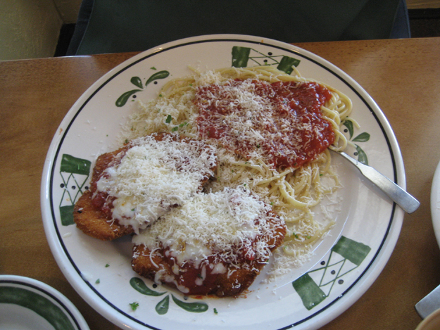 "as ""parmesan-breaded chicken breasts, fried and topped with marinara ..."
