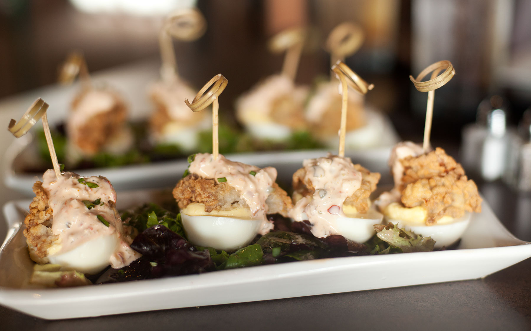 ... Hen Bistro & Wine- Deviled Eggs : Fried oyster, spicy remoulade, chive